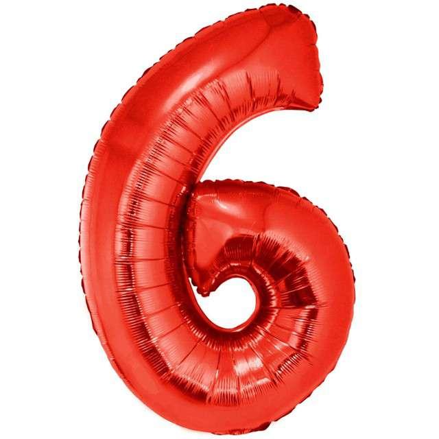 """Balon foliowy """"Cyfra 6"""", czerwony, Funny Fashion, 40"""""""