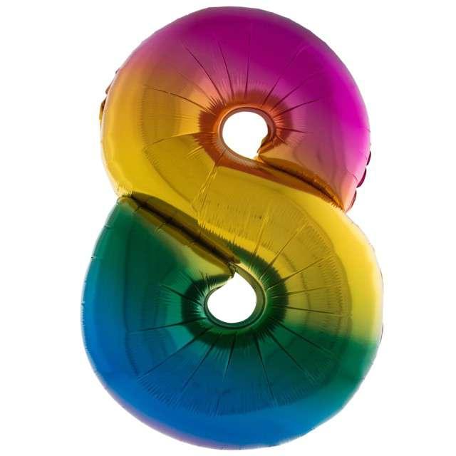 """Balon foliowy """"Cyfra 8"""", tęczowy, Funny Fashion, 40"""""""