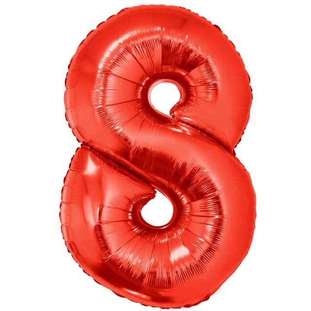 """Balon foliowy """"Cyfra 8"""", czerwony, Funny Fashion, 40"""""""