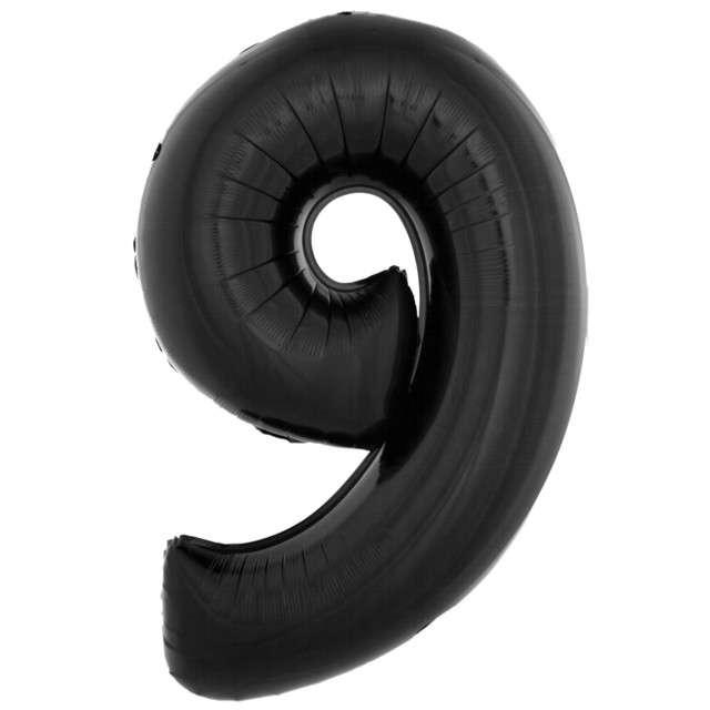 """Balon foliowy """"Cyfra 9"""", czarny, Funny Fashion, 40"""""""