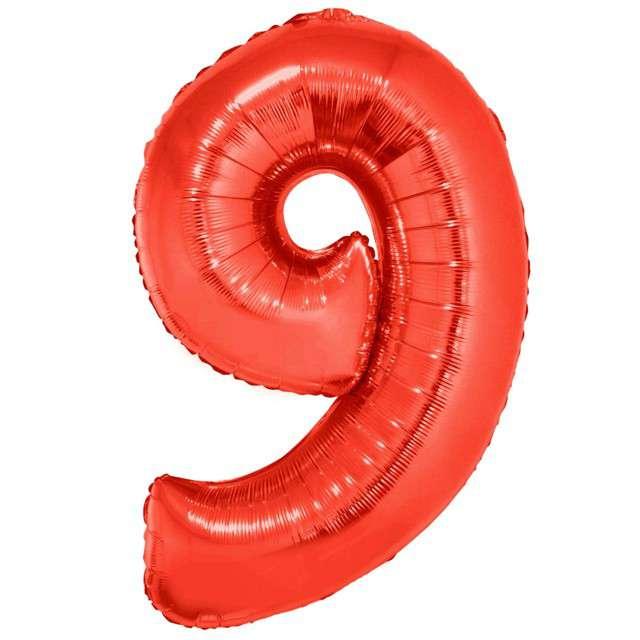 """Balon foliowy """"Cyfra 9"""", czerwony, Funny Fashion, 40"""""""