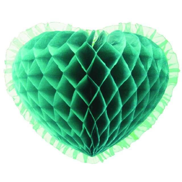 """Dekoracja """"Honeycomb serce"""", zielona, 45 cm, Funny Fashion"""