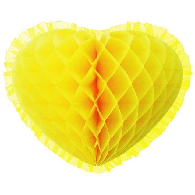 "Dekoracja ""Honeycomb serce"", żółta, 45 cm, Funny Fashion"