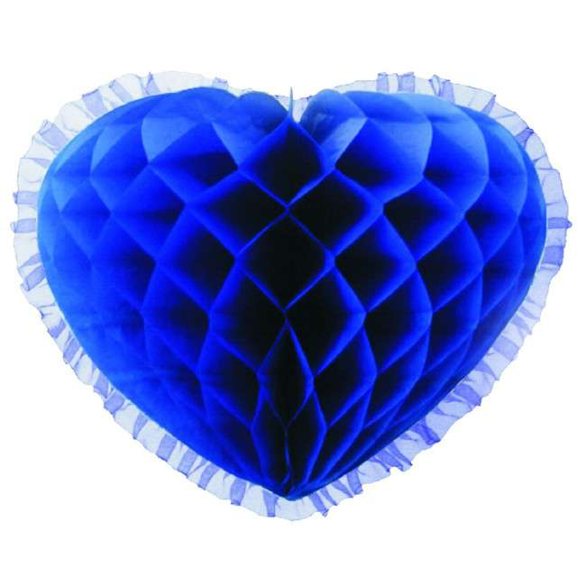 "Dekoracja ""Honeycomb serce"", niebieska, 45 cm, Funny Fashion"