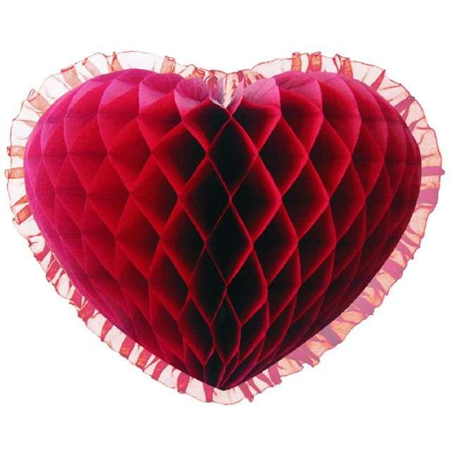 "Dekoracja ""Honeycomb serce"", bordowa, 45 cm, Funny Fashion"