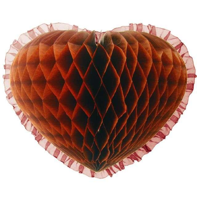 """Dekoracja """"Honeycomb serce"""", brązowa, 45 cm, Funny Fashion"""
