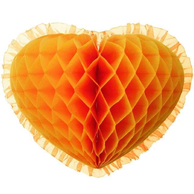 """Dekoracja """"Honeycomb serce"""", pomarańczowa, 45 cm, Funny Fashion"""