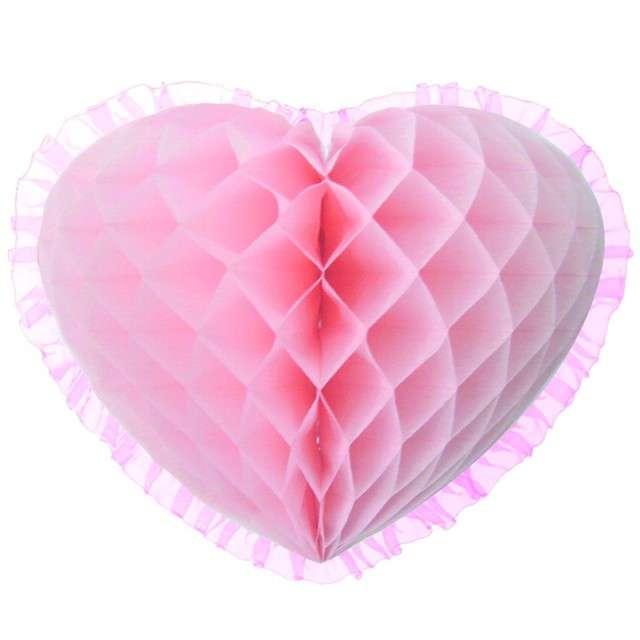 "Dekoracja ""Honeycomb serce"", różowa, 45 cm, Funny Fashion"