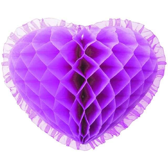 "Dekoracja ""Honeycomb serce"", fioletowa, 45 cm, Funny Fashion"