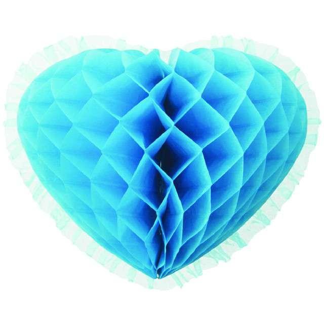 """Dekoracja """"Honeycomb serce"""", turkusowa, 45 cm, Funny Fashion"""