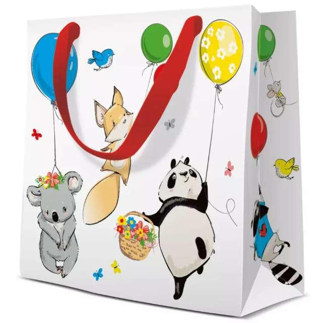 """Torebka prezentowa """"Zwierzęta z balonami"""", PAW, 17x17 cm"""