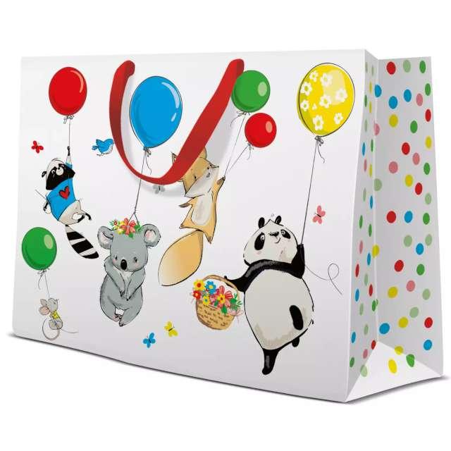 """Torebka prezentowa """"Zwierzęta z balonami"""", PAW, 33x26 cm"""