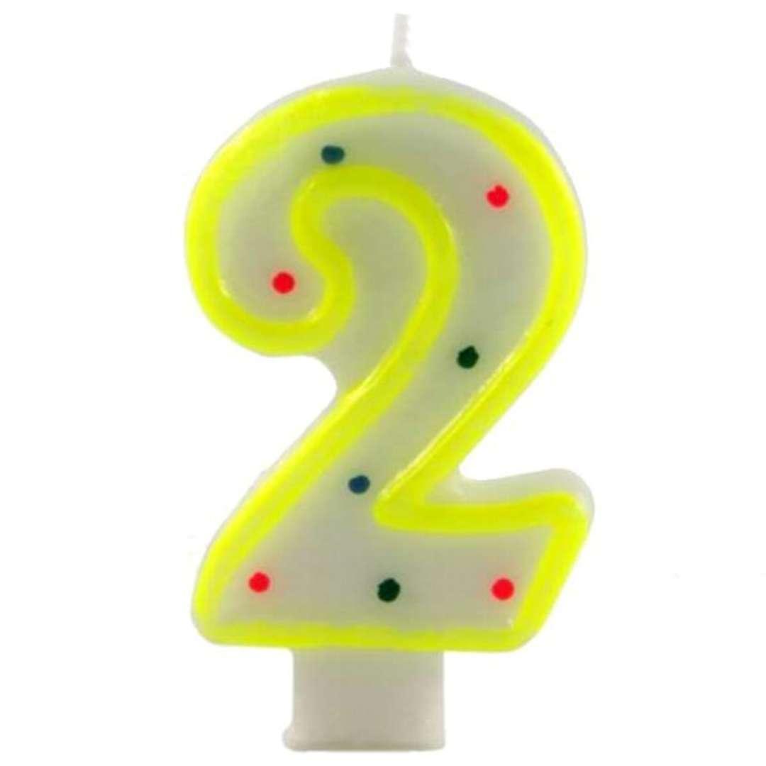 """Świeczka na tort """"Cyfra 2 w kropki"""", żółta, Tamipol, 7,5 cm"""