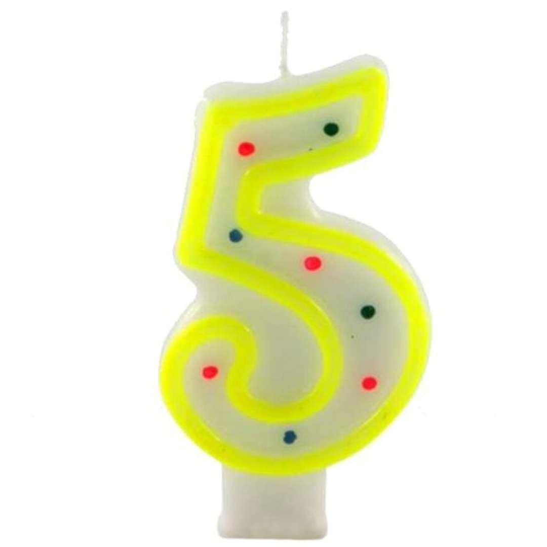 """Świeczka na tort """"Cyfra 5 w kropki"""", żółta, Tamipol, 7,5 cm"""