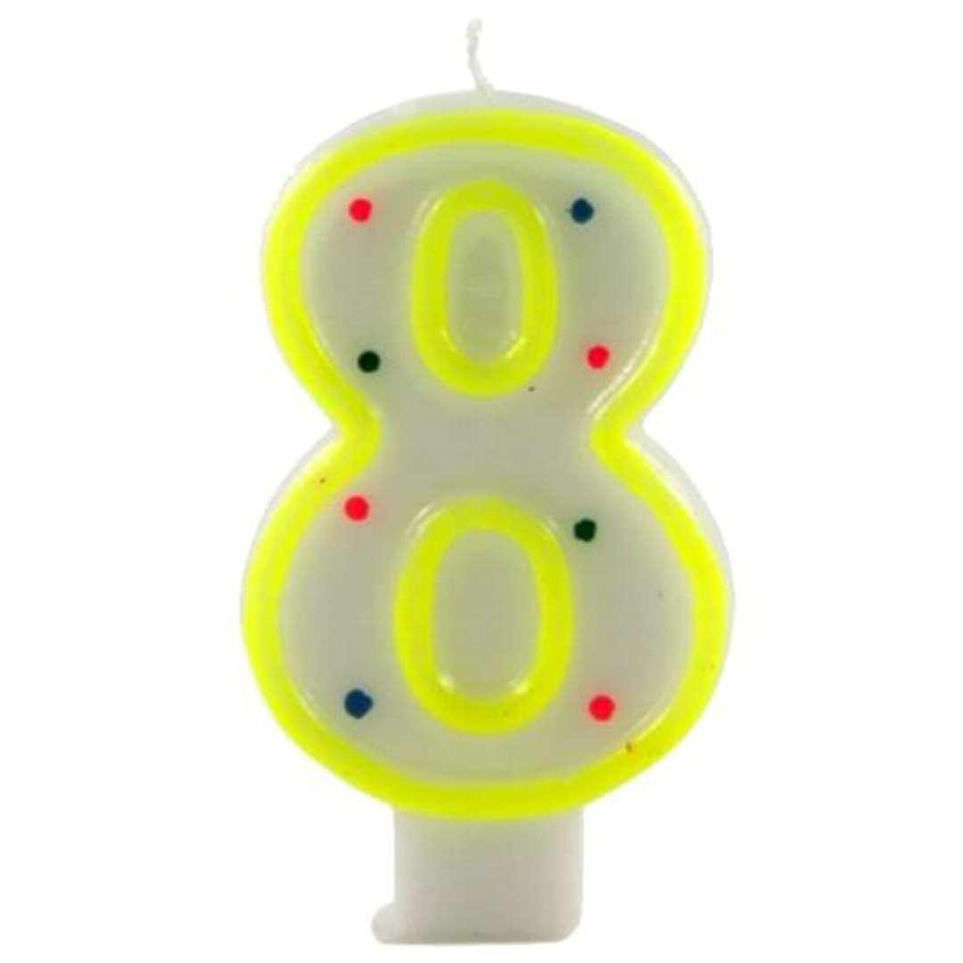 """Świeczka na tort """"Cyfra 8 w kropki"""", żółta, Tamipol, 7,5 cm"""