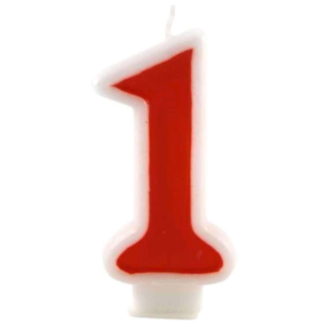 """Świeczka na tort """"Cyfra 1"""", czerwona, Tamipol, 7,5 cm"""