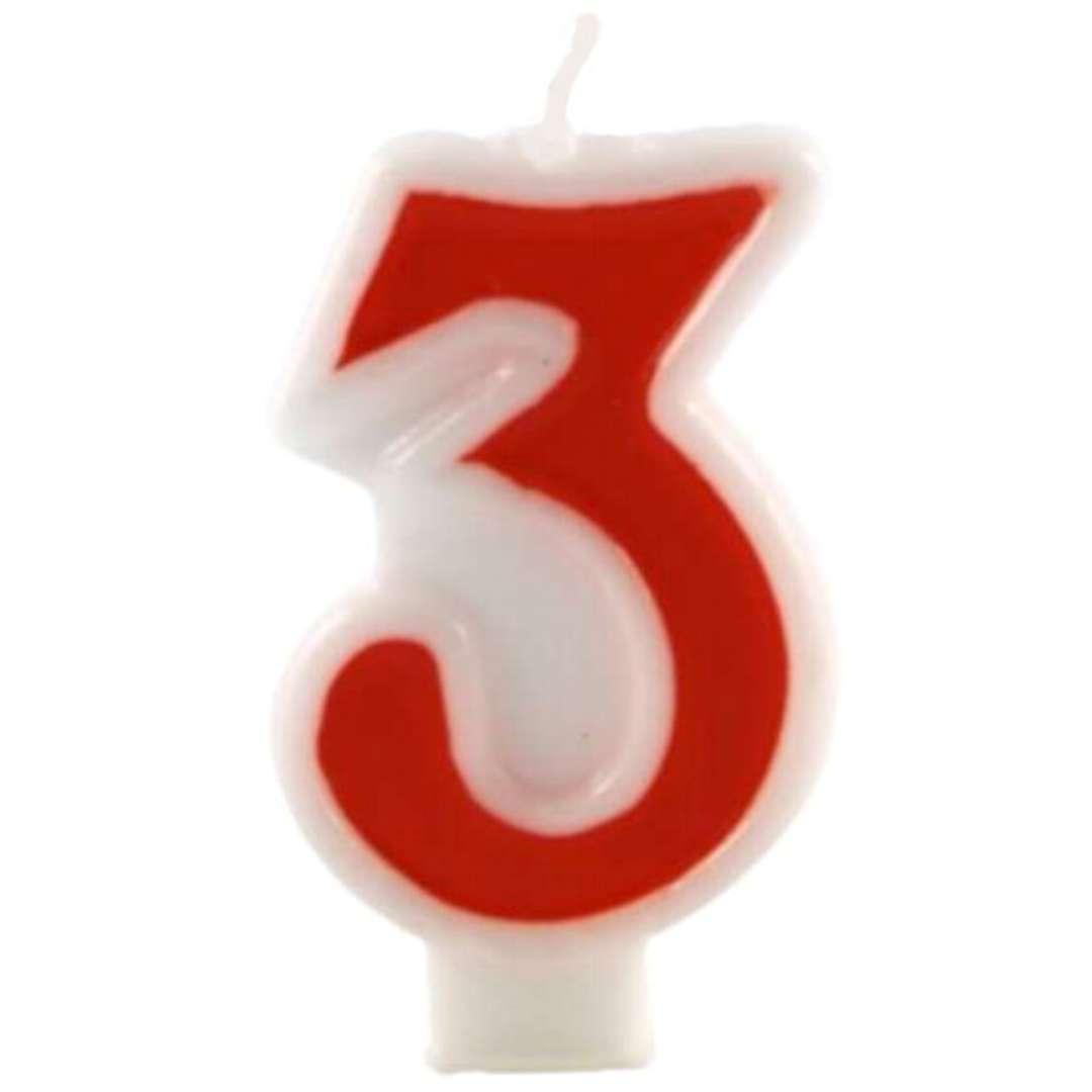 """Świeczka na tort """"Cyfra 3"""", czerwona, Tamipol, 7,5 cm"""