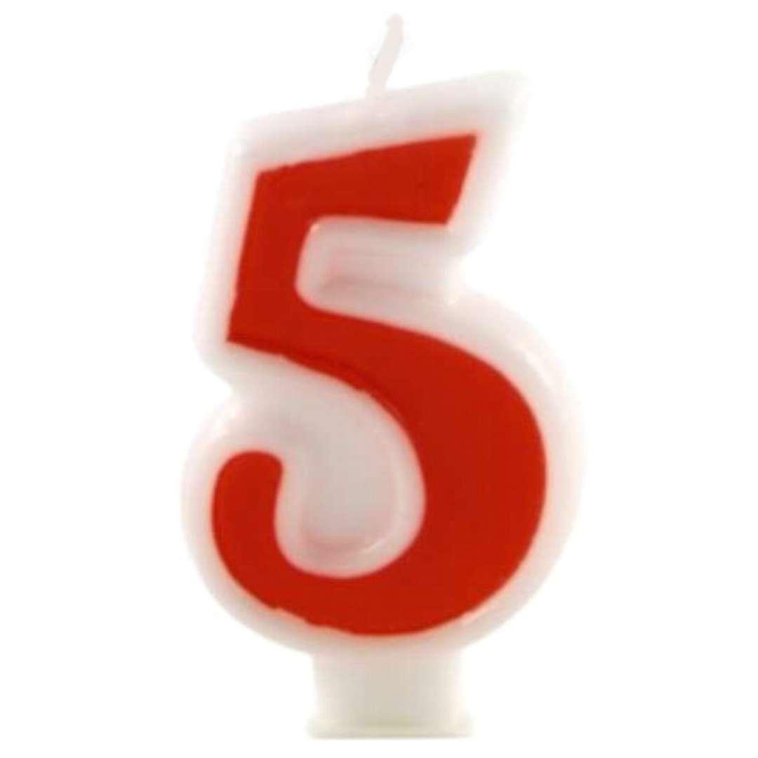 """Świeczka na tort """"Cyfra 5"""", czerwona, Tamipol, 7,5 cm"""
