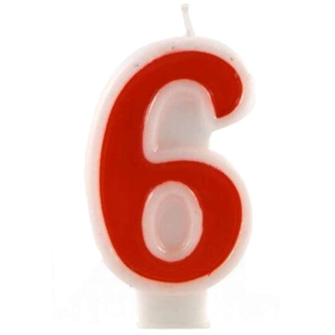 """Świeczka na tort """"Cyfra 6"""", czerwona, Tamipol, 7,5 cm"""