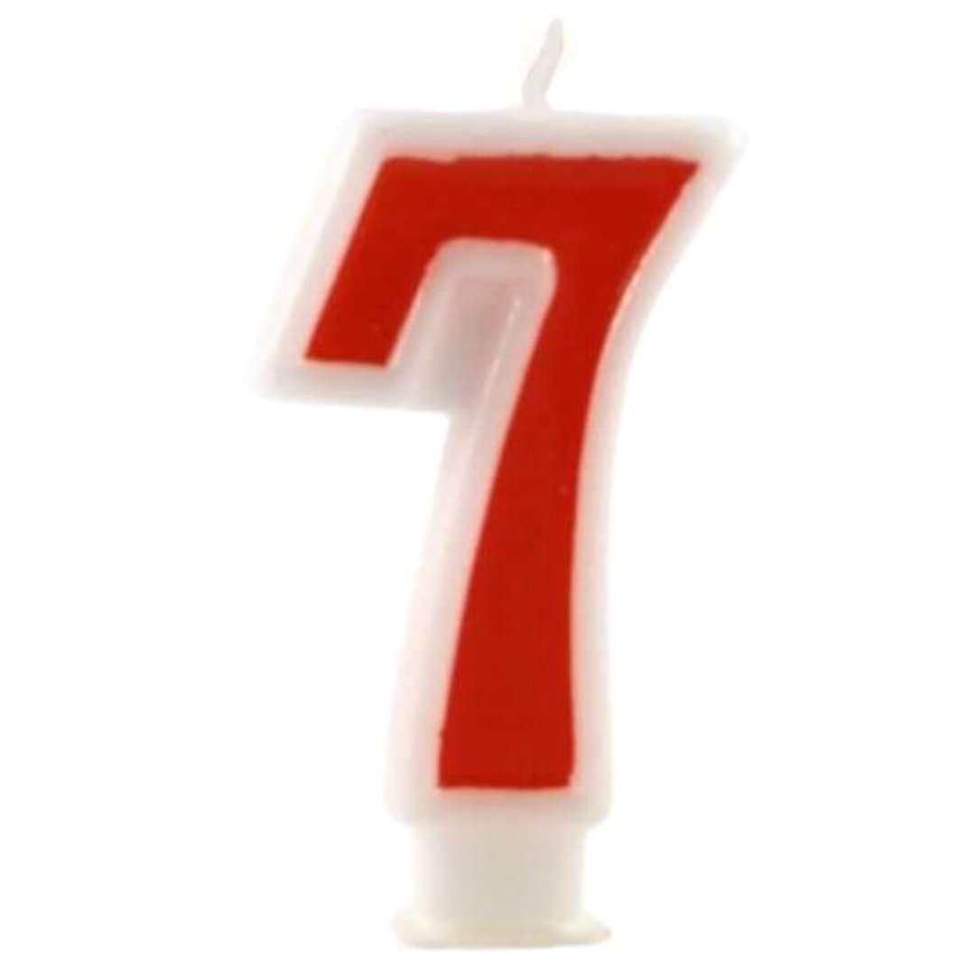 """Świeczka na tort """"Cyfra 7"""", czerwona, Tamipol, 7,5 cm"""