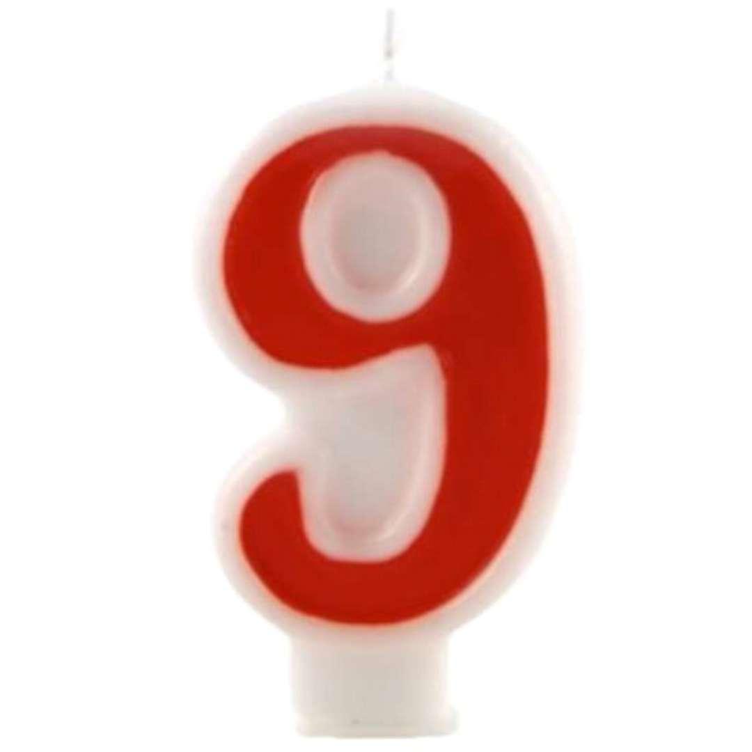 """Świeczka na tort """"Cyfra 9"""", czerwona, Tamipol, 7,5 cm"""