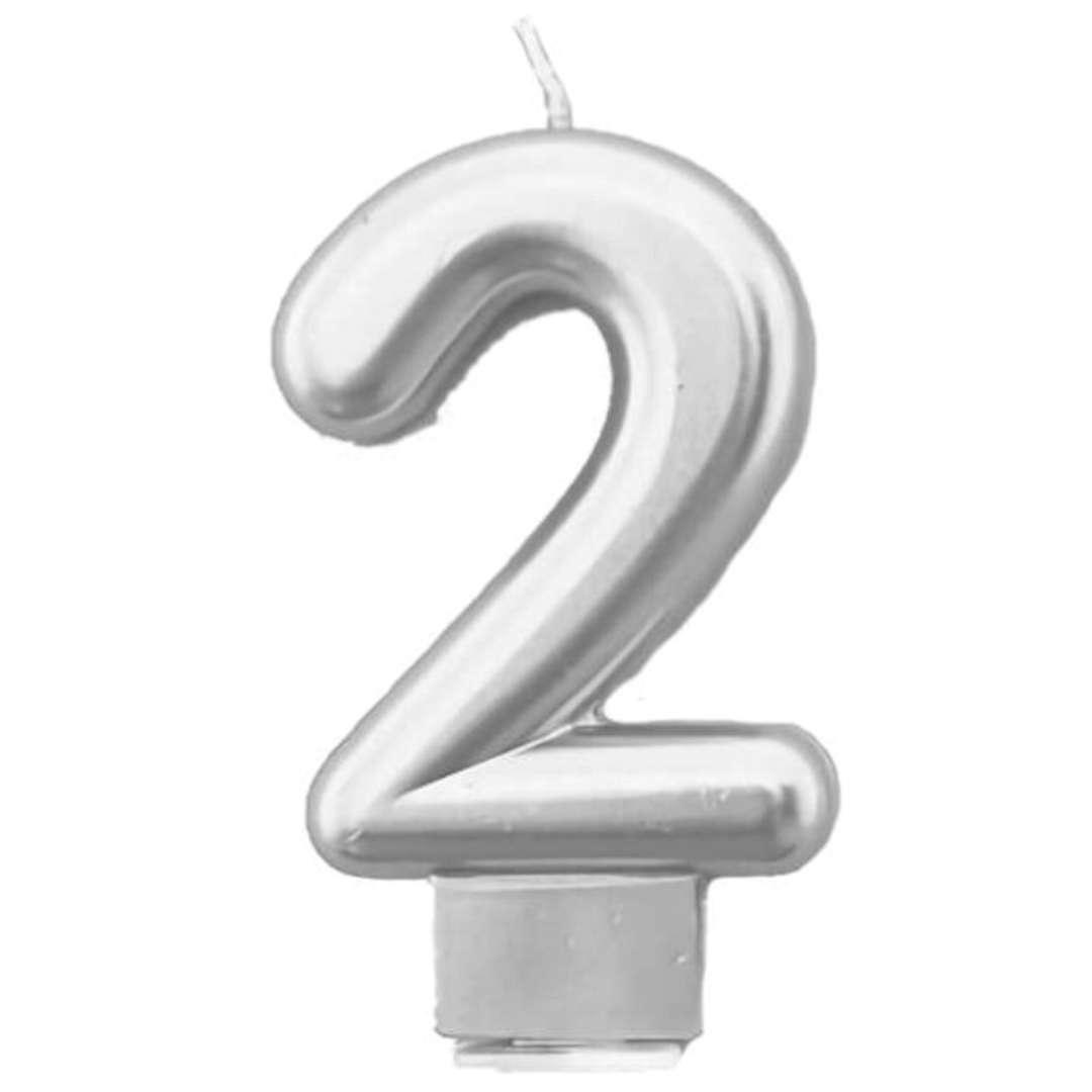 """Świeczka na tort """"Cyfra 2"""", srebrna, Tamipol, 7,5 cm"""