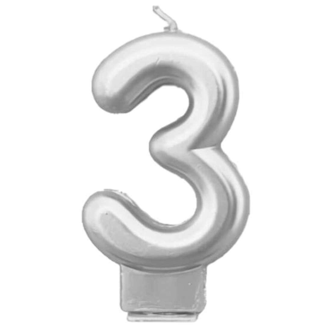 """Świeczka na tort """"Cyfra 3"""", srebrna, Tamipol, 7,5 cm"""