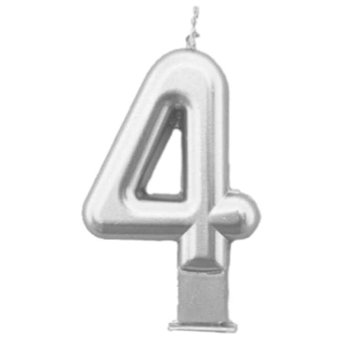 """Świeczka na tort """"Cyfra 4"""", srebrna, Tamipol, 7,5 cm"""
