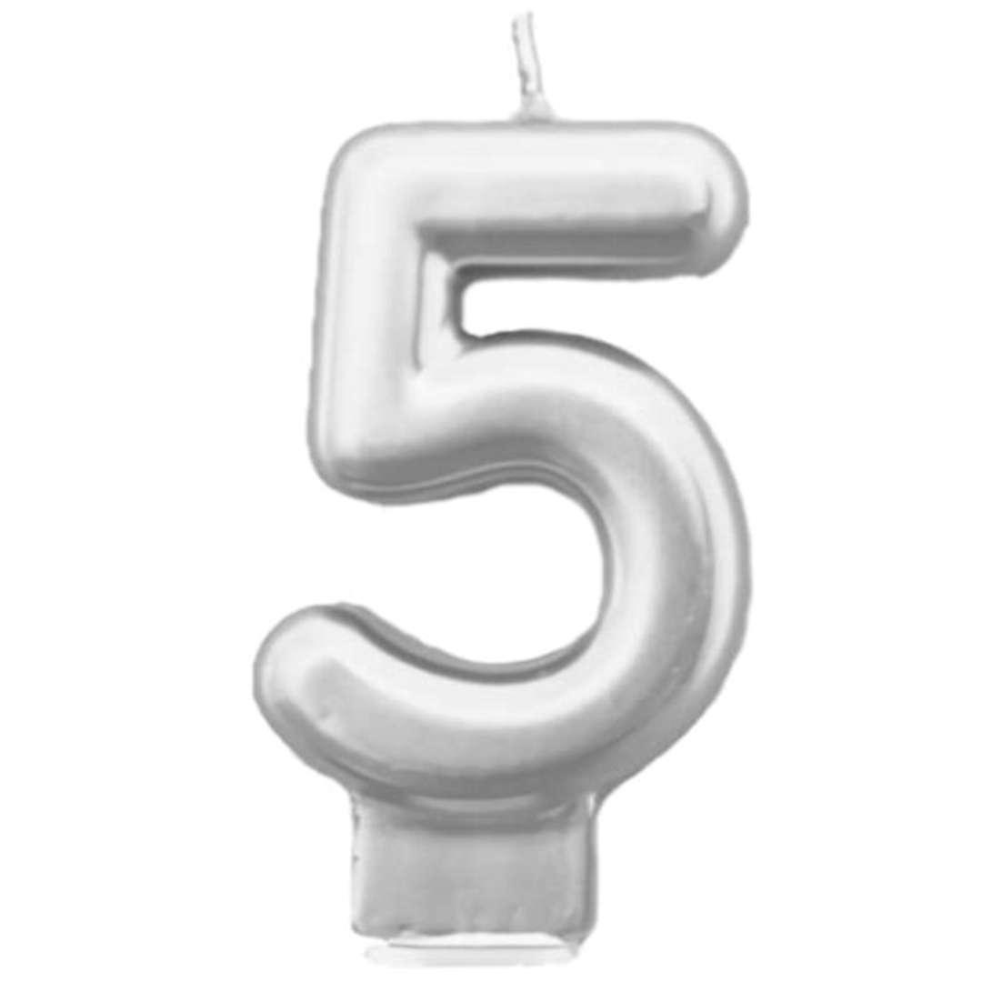"""Świeczka na tort """"Cyfra 5"""", srebrna, Tamipol, 7,5 cm"""