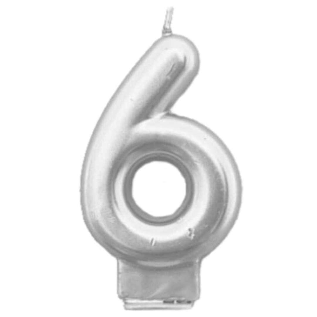 """Świeczka na tort """"Cyfra 6"""", srebrna, Tamipol, 7,5 cm"""