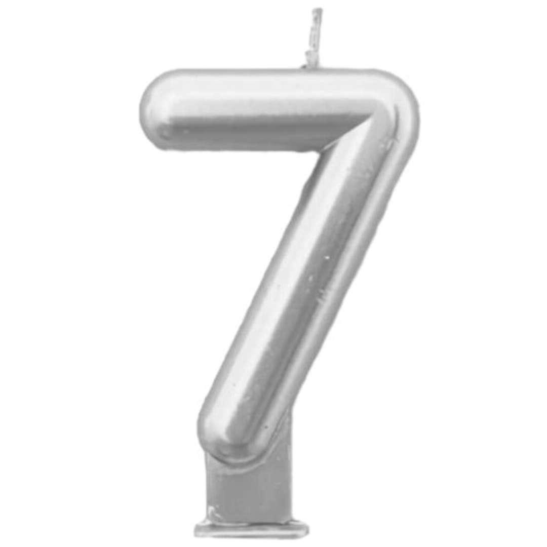"""Świeczka na tort """"Cyfra 7"""", srebrna, Tamipol, 7,5 cm"""