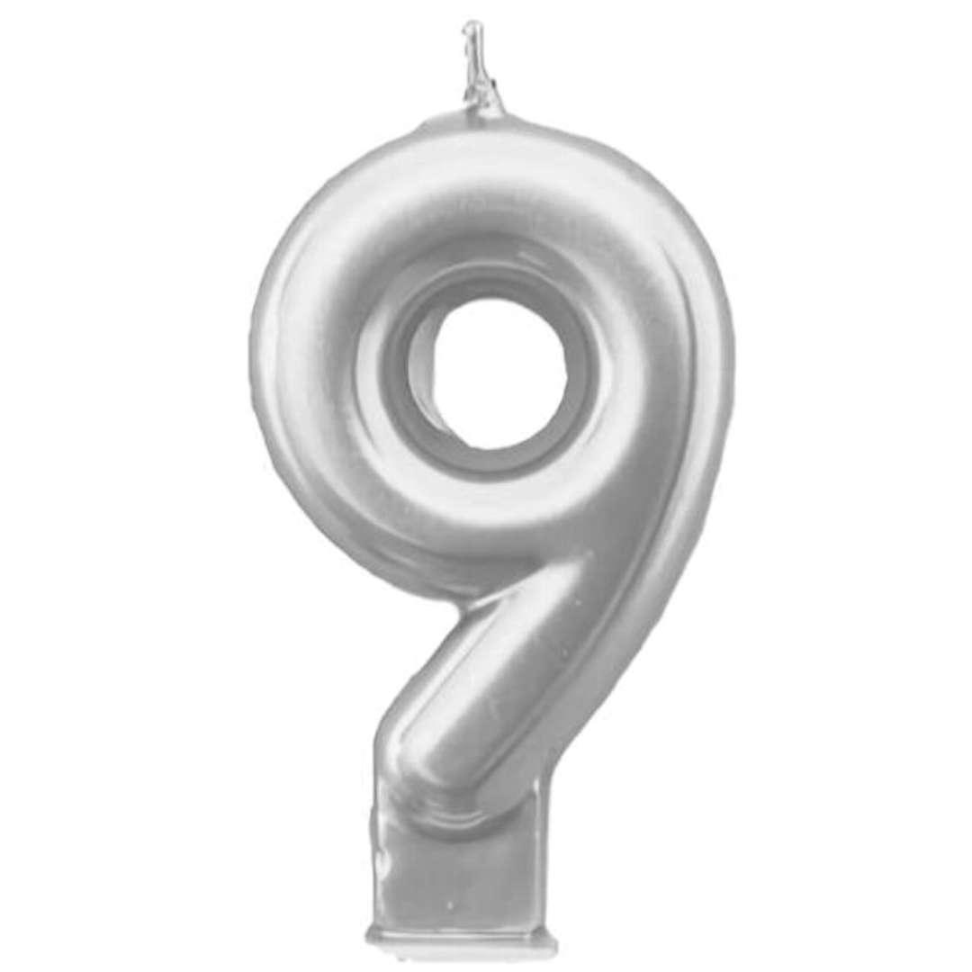 """Świeczka na tort """"Cyfra 9"""", srebrna, Tamipol, 7,5 cm"""