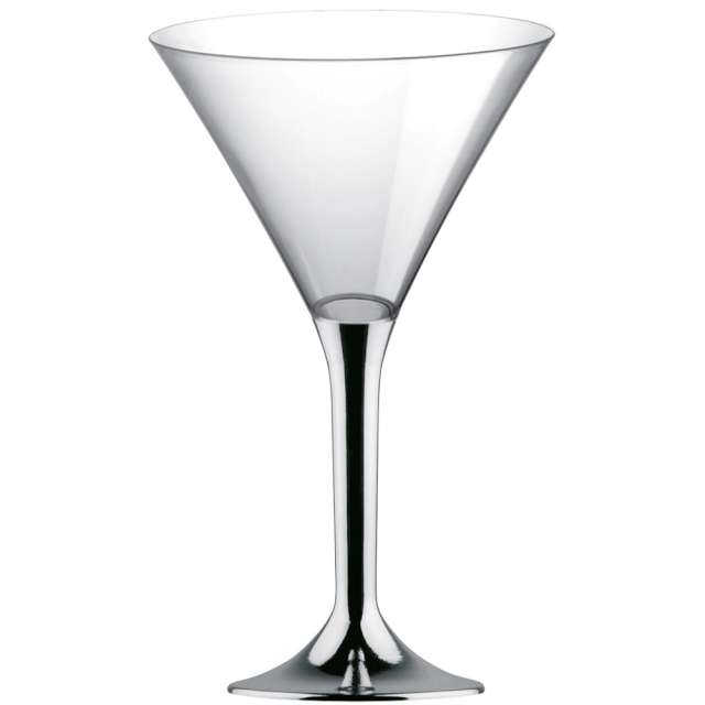 "Kieliszki jednorazowe ""Martini Aperitif"", srebrne chrom, GoldPlast, 185 ml, 10 szt"