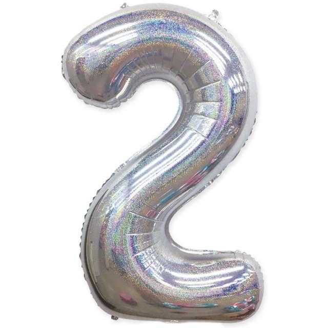 "Balon foliowy ""Cyfra 2 - Holograficzna"", srebrna, PartyPal, 40"""