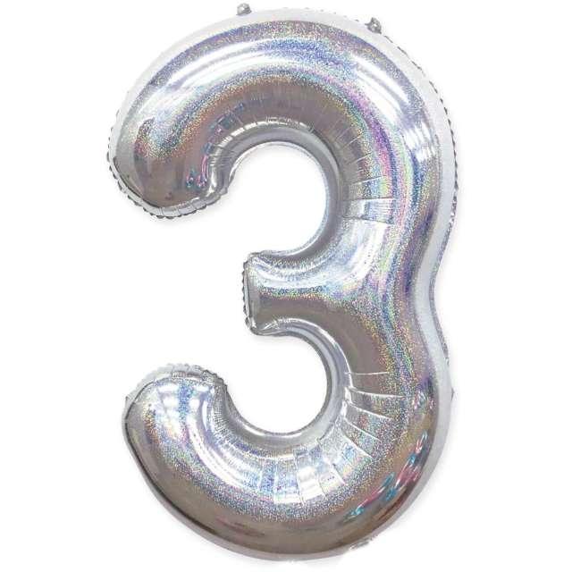 "Balon foliowy ""Cyfra 3 - Holograficzna"", srebrna, PartyPal, 40"""