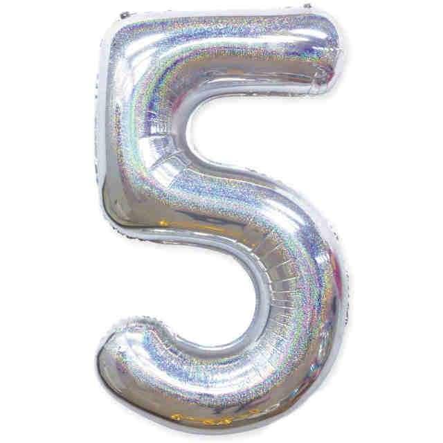 "Balon foliowy ""Cyfra 5 - Holograficzna"", srebrna, PartyPal, 40"""
