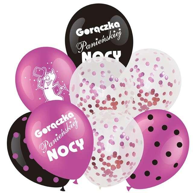 """Balony """"Wieczór Panieński"""", różowe, Partypal, zestaw, 8 szt"""