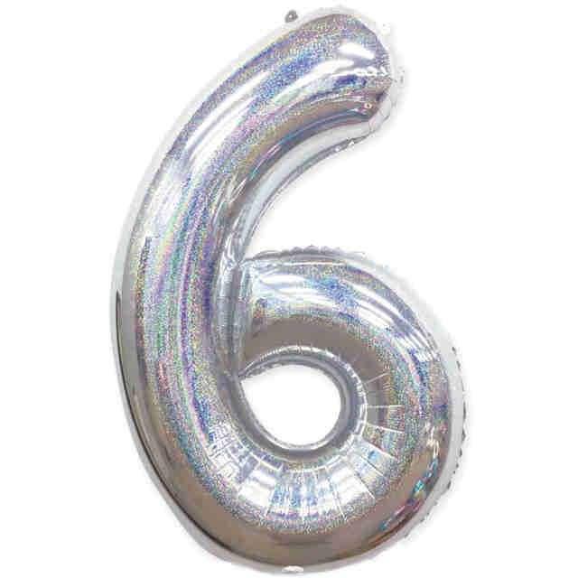 "Balon foliowy ""Cyfra 6 - Holograficzna"", srebrna, PartyPal, 40"""