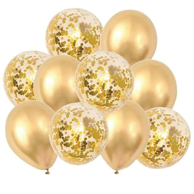 """Balony """"Metaliczny zestaw z taśmą"""", złote konfetti, PartyPal, 12"""", 10 szt"""