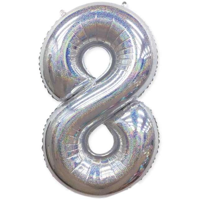 "Balon foliowy ""Cyfra 8 - Holograficzna"", srebrna, PartyPal, 40"""