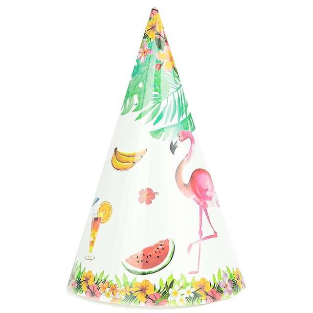 """Czapeczki """"Flamingi z kwiatami"""", biały, PartyPal, 6 szt"""
