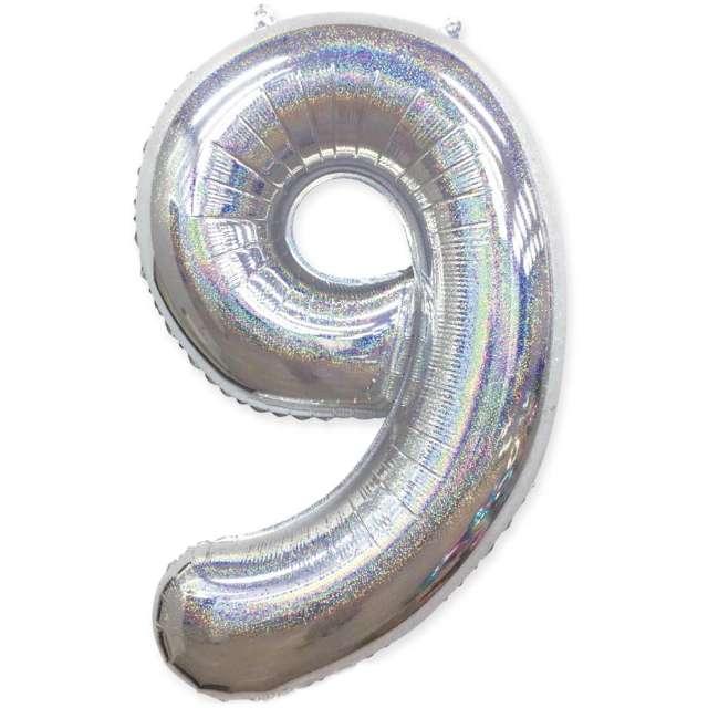 "Balon foliowy ""Cyfra 9 - Holograficzna"", srebrna, PartyPal, 40"""
