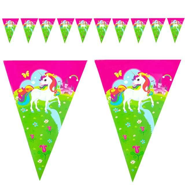 """Baner flagi """"Jednorożce"""", różowy, PartyPal, 190 cm"""