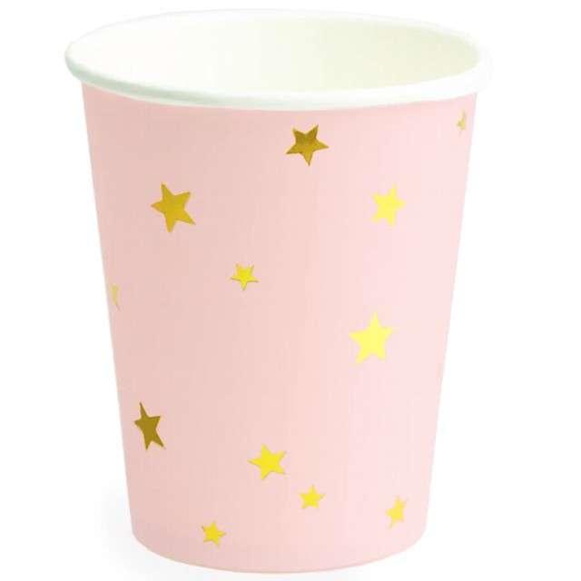 """Kubeczki papierowe """"Gwiazdki Złote"""", różowe, PartyPal, 8 szt, 230 ml"""