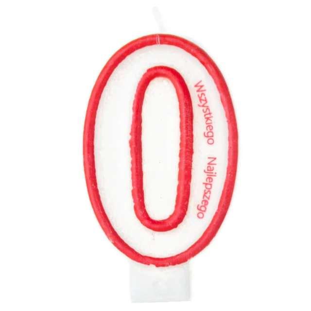 """Świeczka """"Cyfra 0 - Wszystkiego Najlepszego"""", Partypal, czerwona, 8 cm"""