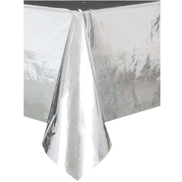 Obrus foliowy Metaliczny srebrny Partypal 137 x 274 cm