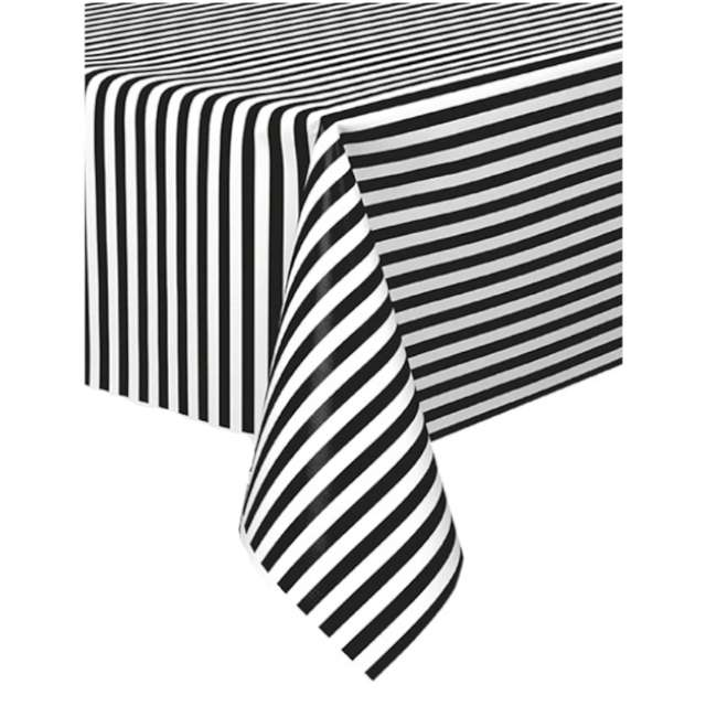 Obrus Paski biało-czarny Partypal137 x 274cm