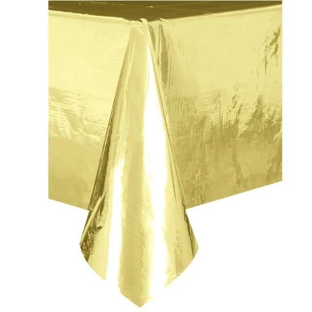 """Obrus foliowy """"Metaliczny"""", złoty, Partypal, 137 x 274 cm"""