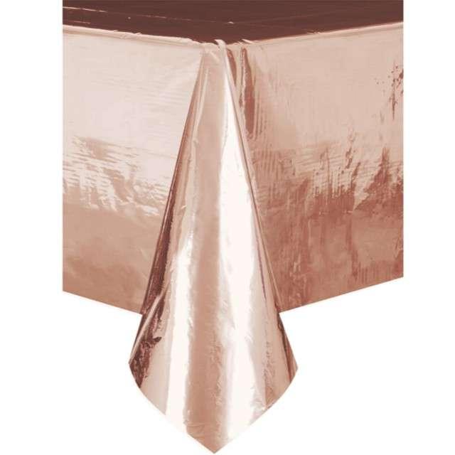 """Obrus foliowy """"Metaliczny"""", różowe złoto, Partypal, 137 x 274 cm"""