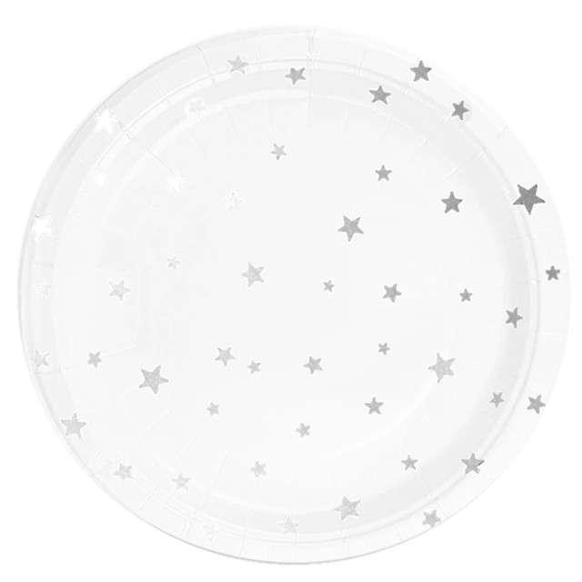 """Talerzyki papierowe """"Srebrne gwiazdki"""", białe, Partypal, 18 cm, 6 szt"""